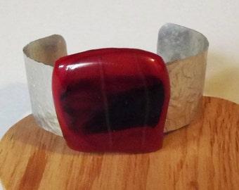 Aluminum Fused Glass Bracelet Cuff, Jewelry, Glass Cuff, Glass Bracelet, Red Cuff, Black Bracelet, Fused Glass, Wearable Art, Glass Jewelry