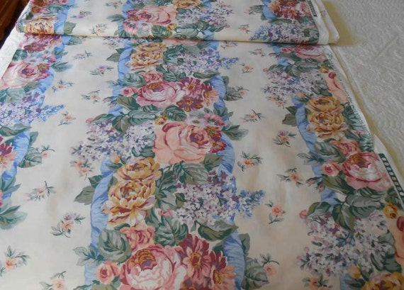 Old Roses and Lilacs Drapery Fabric Plus Two Pre Made Window Valances Farmhouse Decor