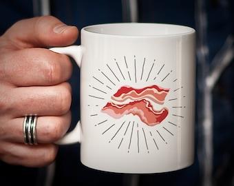 Bacon Mug Funny Bacon Mug Shining bacon with halo - Perfect bacon lover gift bacon lover mug
