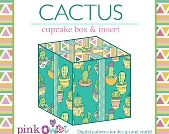 Cactus Garden Cupcake Box Digital DIY Template