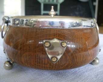 Antique English oak & silver plate butter or caviar dish