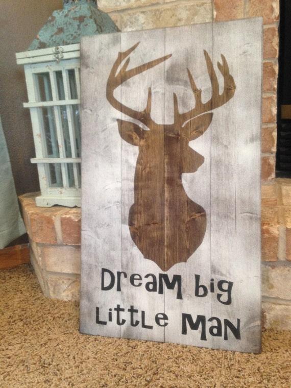 Dream Wood Wall Decor : Deer nursery decor dream big