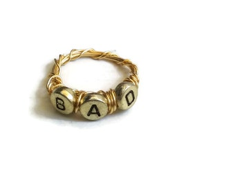 BAD Ring - Gold Wire-Wrapped Ring with Letters - Size 9 - RIN040