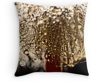 Raindrop Pillow, Bronze Cushion, Water Drops, Rain Drop Cushion, Macro Photography, Nature Decor, Woodland Decor