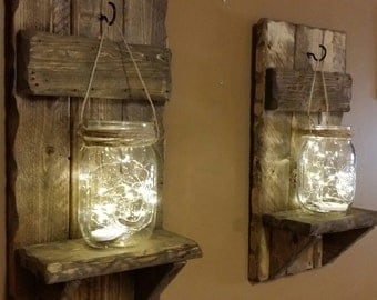 Rustic Home Decor, Candles holders , Mason Jar Decor, Set of  sconces , Farmhouse decor,Firefly lights,  Shelf, Gift for Her, House warming