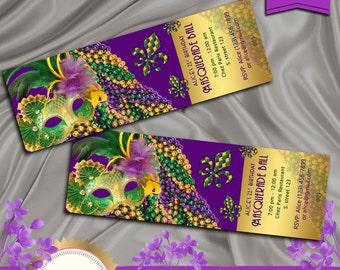 Masquerade Ball Birthday Party Invitation, Mardi Gras Party, Masquerade Party, Ticket Style, Green, Purple, Gold - Printable DIY