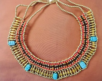 Gorgeous Handmade Belly Dance Egyptian Necklace CLEOPATRA w/5 Scarabs