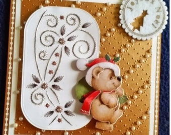 card scrap, reindeer and gift package