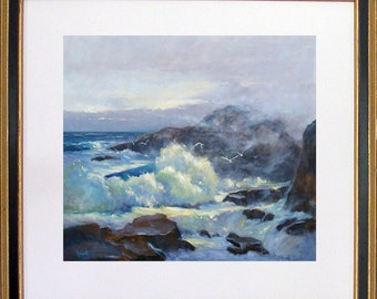 Painting of ocean, Oil painting Seascape, Print, Wall Art, Art Prints, Giclees, Gift for Him, Art and Collectibles, Original oil painting