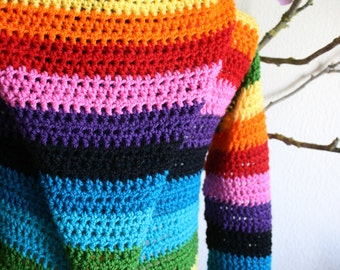 Rainbow Pixie Coat with long hood