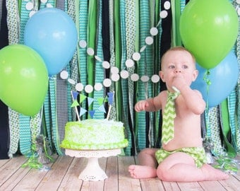 Blue and Green Fabric Backdrop - Cake Smash Photo Backdrop - Green and Blue Rag Tie Garland