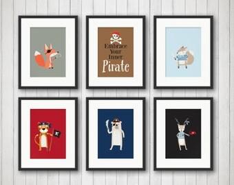 Pirate Animal Decor - Pirate Nursery Art - Woodland Animals Print - Baby Nursery Decor - Pirate Nursery Art - Pirate Decor - Pirate Wall Art