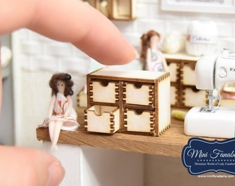 Chest of Drawers pull out -  miniature handmade Dollhouse 1:12, sewing room, craft, decoration office decor desk