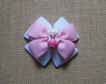 Girls Hairbow, Pink Hairbow, Toddler Hairbow, Girls Hair Accessory, Little Girls Hairbow, White Hairbow, Pink and White Bow, Girls Hair Clip