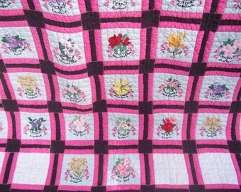 Embroidered Quilt with 50 State Flowers - Hand Stitched - Hand Quilted