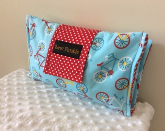 Nappy Wallet/Nappy Clutch/Nappy Bag/Wipes Holder -  Blue Bikes