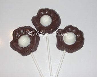 BASEBALL GLOVE Chocolate Lollipop*12 Count*Baseball Favor*Sports Party*Baseball Mitt*Birthday Party*Coach Gift*Softball