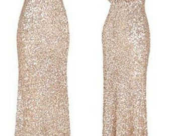Michelle Linke's Bridal Party - Mix and match bridesmaids dresses in different styles and metallic sequin colors.