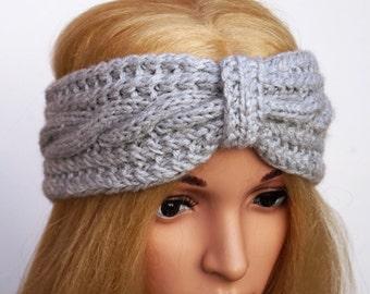 Light Grey Ear Warmer, Knitted Winter Headband, Knit and Crochet Headband ,Ear warmer,Winter  Turban, Women Headband,Wool Ear Warmer