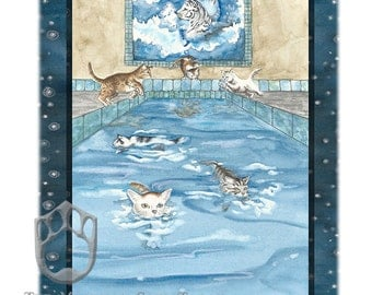 Six of Sea, (Cups) Giclee Print, from Mystical Cats Tarot