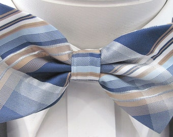 Light Blue Royal Blue And Tan Design PreTied Bow Tie