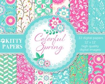 Spring digital paper : Colorful Spring, floral digital paper, hot pink bright teal, floral backgrounds, floral patterns, digital paper pack