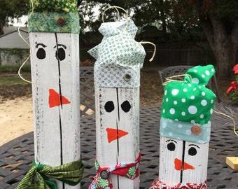 Christmas Snowman, Primitive Snowman set, Snowmen, Snowman, Wood snowman, Christmas decor, holiday decor, snowmen decor, primitive holiday