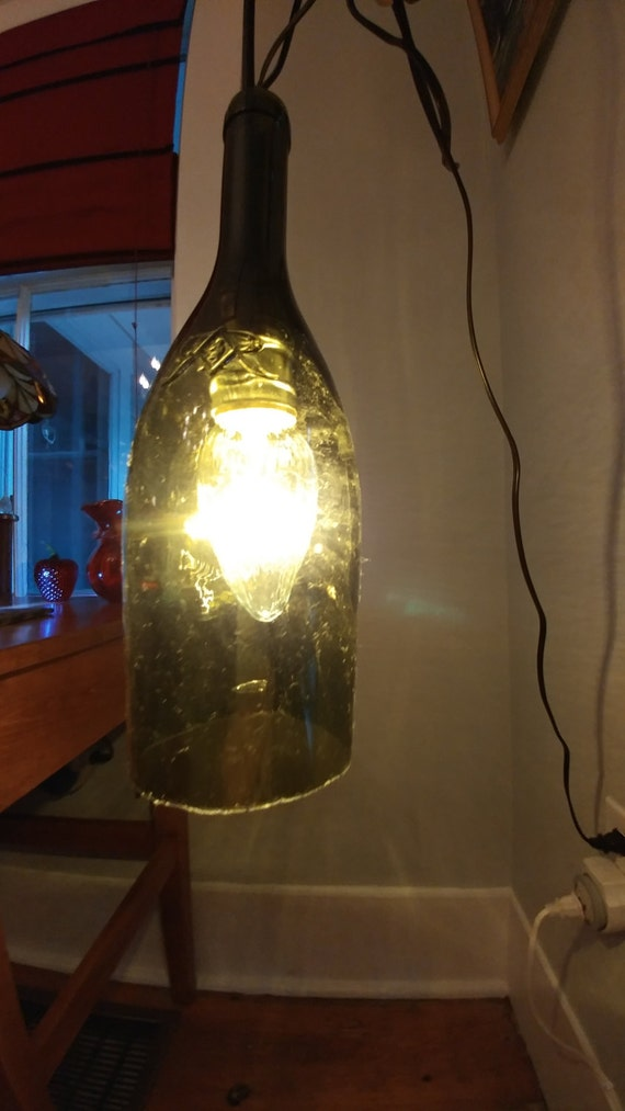 Wine bottle pendent light