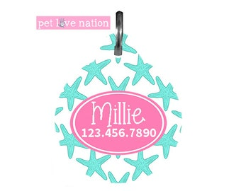 Personalized Pet Tag, Dog Tag, ID Tag, Beach Starfish Pet Tag With Name And Phone Number