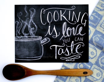 Kitchen Chalkboard - Kitchen Print - Chalkboard Art - Kitchen Art - Foodie Gift - Typography - Gift for Cooks - Chalkboard Sign