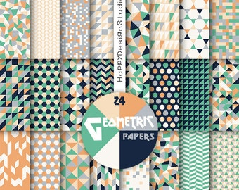 Geometric digital paper scrapbooking geometrical pattern pech orange coral navy gray mint green triangle modern background mega paper pack