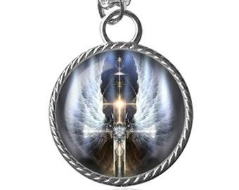 Angel Wings Necklace, Spiritual Cross Image Pendant Key Chain Handmade