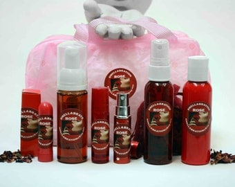 RED ROSE SPA Kit *(6) Organic Personal Care Products*Rose Fragrance* Free Pink Travel Tote Bag * Birthday Delight!*