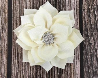 Ivory hair clip, flower girl hair clip, rhinestone hair clip, flower hair clip, alligator clip, wedding clip