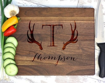 Personalized Cutting board - Engraved Cutting Board - Antler Cutting Board