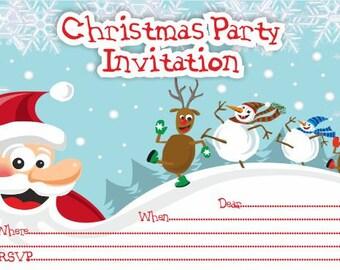 10 x Children CHRISTMAS Party Invitations