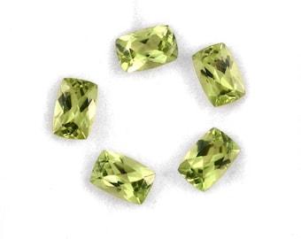 Hebei Peridot Loose Gemstones Set of 5 Cushion Cut 6x4mm TGW 2.80 cts.