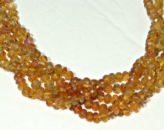 Imperial Topaz Beads, Topaz Rondelle Beads, Micro faceted 5mm Loose Beads OR 14 inches Strand with 100 Beads