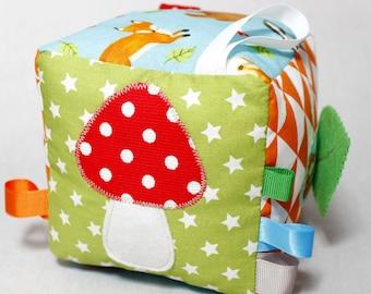 Soft Baby Blocks, Baby PlayCube, Taggie Cube, Sensory Toys, Fabric Baby Block, Montessori, Waldorf, Woodlande, Baby Shower Gift, Toddler Toy
