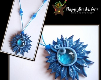 Polymer Clay Jewelry Blue Flower Handmade Pendant Necklace Unique Gift For Her / HAPPY SALE