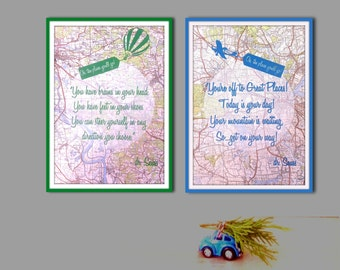 SET OF TWO  A4 screen print on topographic paper. Dr. Seuss inspirational quote. Nursery art.