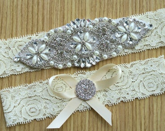 lace garter style ,Ivory Garter sets, Wedding garter ,Bridal garter sets, hair bow,with Pearl Crystal Rhinestone,vintage lace WD34