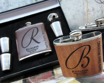 Groomsmen Flask, Personalized Flask, Boyfriend Gift, Engraved Black Leather Flask, Vegan- Groomsmen Gifts, Groomsman Gift, Groomsman Flask