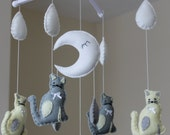 Cat baby mobile musical pussy cat mobile grey cream cot mobile