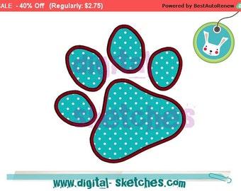 Paw Dog Cat Applique Design Paw Print INSTANT DOWNLOAD 3 Sizes
