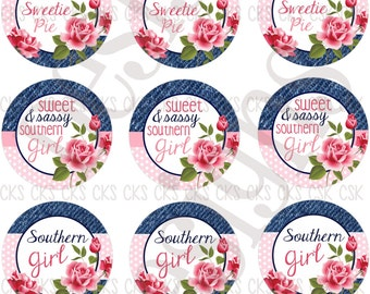 "1"" Digital Bottle Cap Sheet **INSTANT DOWNLOAD** Southern Belle"
