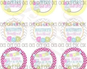 "1"" Digital Bottle Cap Sheet **INSTANT DOWNLOAD** Southern Sweetheart"