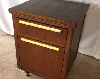 Vintage Mid Century Solid Wood File Cabinet Storage with Solid Brass Gold Handles Cedar Drawers Pickup Phoenix or Ship!