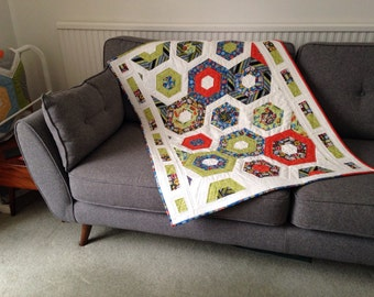 Handmade Patchwork Baby Quilt Transport Themed Hexagon Pattern