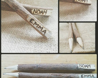 Personalized Twig Pencils- Customized Woodburned Pyrography SALE!